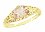Morganite East West Oval Filigree Edwardian Engagement Ring in 14 Karat Yellow Gold
