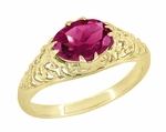 Edwardian Oval Pink Tourmaline Filigree Engagement Ring in 14 Karat Yellow Gold - October Birthstone