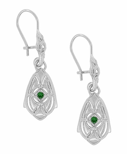 Art Deco Dangling Sterling Silver Emerald and Diamond Filigree Earrings - Item E178WE - Image 1