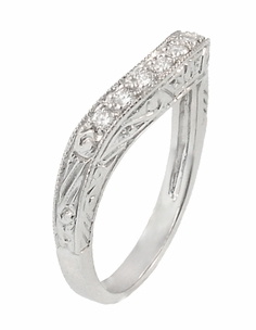 Art Deco Engraved Scrolls Curved Diamond Wedding Ring in 18 Karat White Gold - Item R1137WD - Image 2