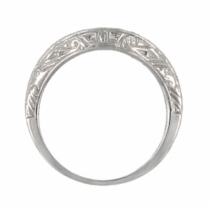 Art Deco Engraved Scrolls Curved Diamond Wedding Ring in 18 Karat White Gold - Click to enlarge
