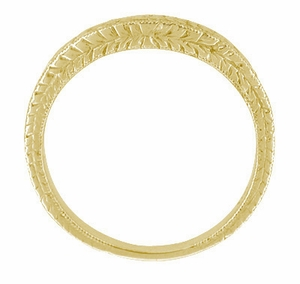 Art Deco Curved Engraved Wheat Wedding Band in 14 Karat Yellow Gold - Click to enlarge
