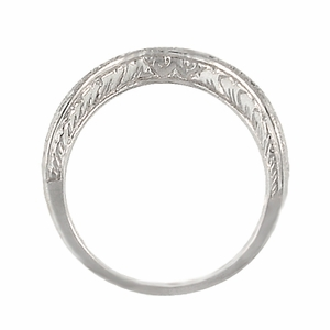 Art Deco Engraved Scrolls Curved Diamond Wedding Ring in 18 Karat White Gold - Item R1137WD - Image 5