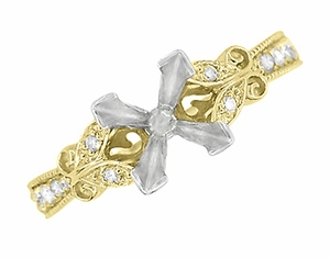 Art Deco Filigree Butterfly 3/4 Carat Princess Cut Diamond Engagement Ring Setting in 14 Karat Yellow Gold - Item R850PR75Y - Image 2