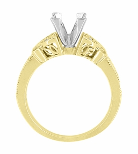 Art Deco Filigree Butterfly 3/4 Carat Princess Cut Diamond Engagement Ring Setting in 14 Karat Yellow Gold - Click to enlarge