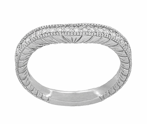 Art Deco 14 Karat White Gold Wheat Engraved Curved Diamond Wedding Band  - Click to enlarge