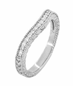 Art Deco 14 Karat White Gold Wheat Engraved Curved Diamond Wedding Band  - Item WR1205W14 - Image 2