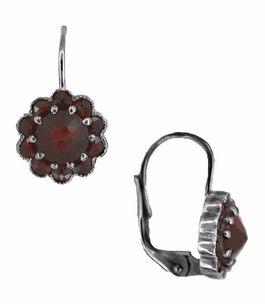 Victorian Bohemian Garnet Floral Earrings in Antiqued Sterling Silver with 14 Karat Gold Earwires - Item E148 - Image 1