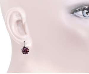 Victorian Bohemian Garnet Floral Earrings in Antiqued Sterling Silver with 14 Karat Gold Earwires - Item E148 - Image 2
