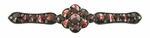 Victorian Bohemian Garnet Floral Bar Pin in Antiqued Sterling Silver