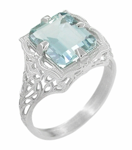 Art Nouveau Filigree Emerald Cut Aquamarine Ring in 14 Karat White Gold - Click to enlarge