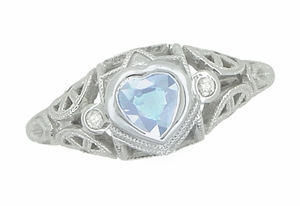 Art Deco Heart Blue Topaz and Diamond Filigree Ring in 14 Karat White Gold - Click to enlarge