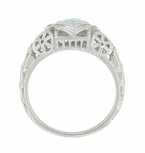 Art Deco Heart Blue Topaz and Diamond Filigree Ring in 14 Karat White Gold - Item R1119BT - Image 3