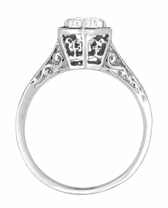 Art Deco White Sapphire Filigree Engagement Ring in 14 Karat White Gold - Click to enlarge