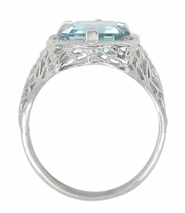 Art Nouveau Filigree Emerald Cut Aquamarine Ring in 14 Karat White Gold - Item R612 - Image 3