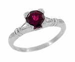 Art Deco Clovers and Hearts Rhodolite Garnet Engagement Ring in 14 Karat White Gold