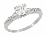 Art Deco Hearts and Clovers White Sapphire Engagement Ring in 14 Karat White Gold