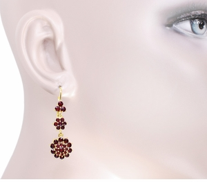 Victorian Bohemian Garnet Floral Double Drop Earrings in 14 Karat Yellow Gold and Sterling Silver Vermeil - Item E147 - Image 2