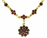 Gorgeous Victorian Bohemian Garnet Floral Drop Necklace in Sterling Silver Vermeil