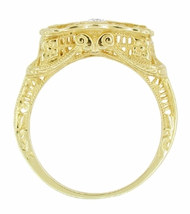 "Art Deco 14 Karat Yellow Gold Filigree ""Three Stone"" Diamond Ring - Click to enlarge"