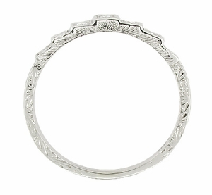 Art Deco Platinum and Diamond Engraved Wedding Band - Item DWR135P - Image 1