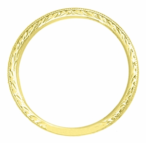Art Deco Engraved Wheat Wedding Band in 14 Karat Yellow Gold - Item R858YND - Image 1
