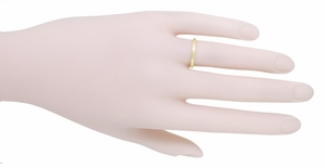 Art Deco Engraved Wheat Wedding Band in 14 Karat Yellow Gold - Item R858YND - Image 2