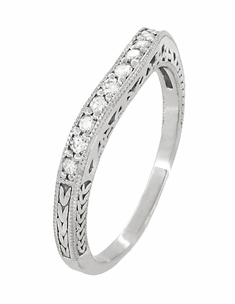 Art Deco Curved Filigree and Wheat Engraved Diamond Wedding Band in 18 Karat White Gold - Click to enlarge