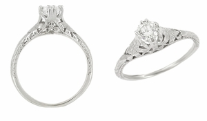 Art Deco Filigree Flowers and Wheat Engraved 1/2 Carat Diamond Engagement Ring in 18 Karat White Gold - Click to enlarge