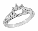 Filigree Flowing Scrolls Engagement Ring Setting for a 1/2 Carat Diamond in 14 Karat White Gold