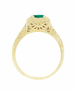 Engraved Scrolls Filigree Emerald Engagement Ring in 14 Karat Yellow Gold - Click to enlarge