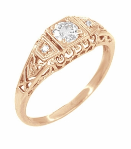 White Sapphire Art Deco Filigree Engagement Ring in 14 Karat Rose Gold - Click to enlarge