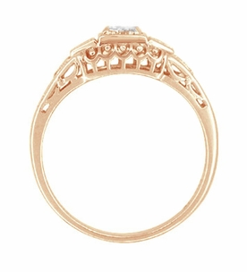 White Sapphire Art Deco Filigree Engagement Ring in 14 Karat Rose Gold - Item R228RWS - Image 2