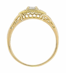 Art Deco Filigree Diamond Engagement Ring in 14 Karat Yellow Gold - Item R640Y - Image 2