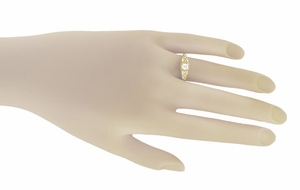 Art Deco Filigree Diamond Engagement Ring in 14 Karat Yellow Gold - Item R640Y - Image 4