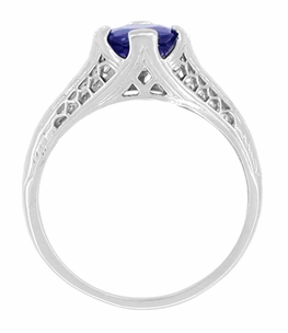 Filigree Blue Sapphire Art Deco Engagement Ring in 14 Karat White Gold, Low Profile Vintage Ring Design - Click to enlarge