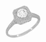 Filigree Scrolls 1/2 Carat Diamond Engraved Engagement Ring in 14K White Gold | EGL Certified