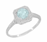 Filigree Scrolls Engraved Aquamarine Engagement Ring in 14 Karat White Gold