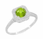 Peridot Filigree Scrolls Engraved Engagement Ring in 14 Karat Whte Gold