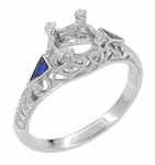 Art Deco Enameled 3/4 - 1 Carat Filigree Engagement Ring Setting in 14 Karat White Gold
