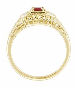 Art Deco Ruby and Diamond Filigree Engagement Ring in 14 Karat Yellow Gold - Click to enlarge