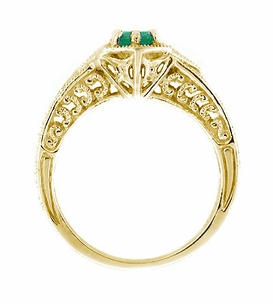 Art Deco Emerald and Diamond Filigree Engraved Engagement Ring in 14 Karat Yellow Gold - Click to enlarge