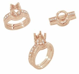 Filigree Loving Butterflies 1 Carat Diamond Art Deco Engraved Engagement Ring Setting in 14 Karat Rose ( Pink ) Gold - Item R178R - Image 5