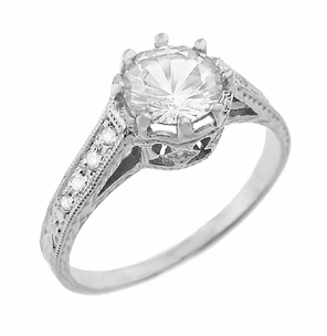 Royal Crown 3/4 Carat Antique Style Engraved Engagement Ring in 18 Karat White Gold - Item R460W75D - Image 1