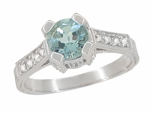 Art Deco Engraved Castle 1 Carat Aquamarine Engagement Ring in 18 Karat White Gold - Item R664A - Image 1