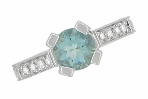 Art Deco Engraved Castle 1 Carat Aquamarine Engagement Ring in 18 Karat White Gold - Item R664A - Image 5