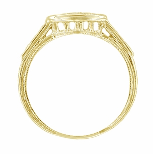 Art Deco Engraved Diamond Filigree Wedding Ring in 18 Karat Yellow Gold - Item WR664Y - Image 1