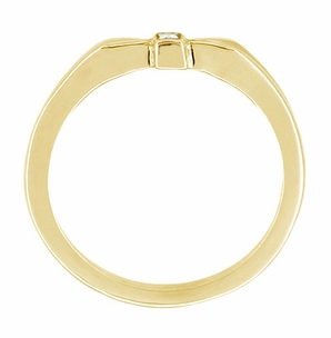 Retro Moderne Bow Motif Diamond Band in 14 Karat Yellow Gold - Click to enlarge