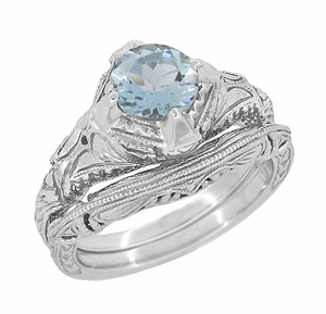 Art Deco Filigree and Wheat Engraved Curved Wedding Ring in Sterling Silver - Click to enlarge