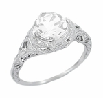 Art Deco Cubic Zirconia ( CZ ) Engraved Filigree Engagement Ring in Sterling Silver